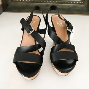 Franco Sarto Black Leather Strappy Buckle Wedges